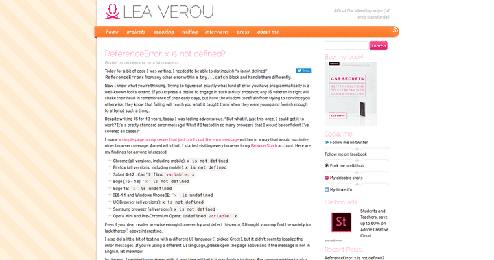 Screenshot of the blog Lea Verou