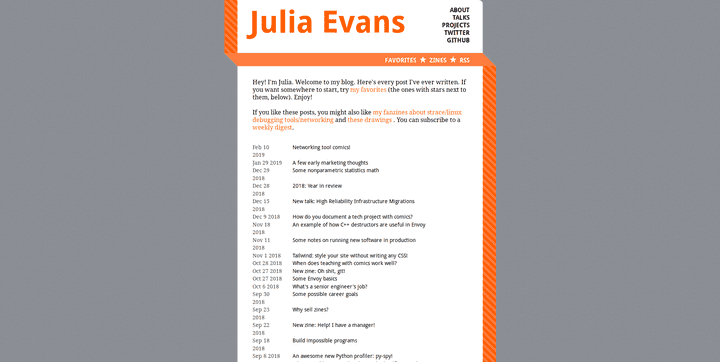 Screenshot of the blog Julia Evans