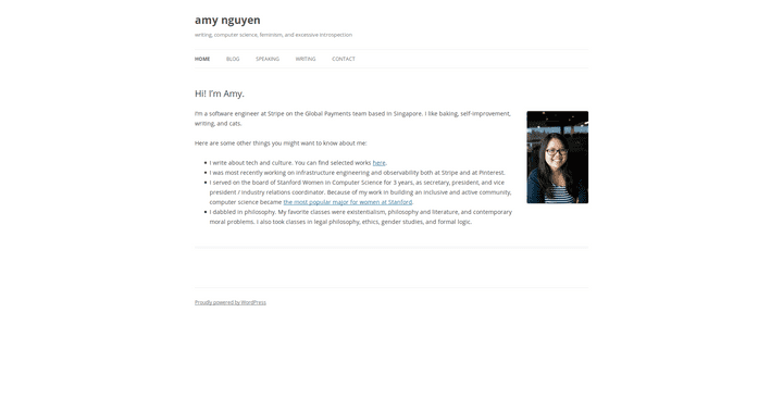 Screenshot of the blog amy nguyen