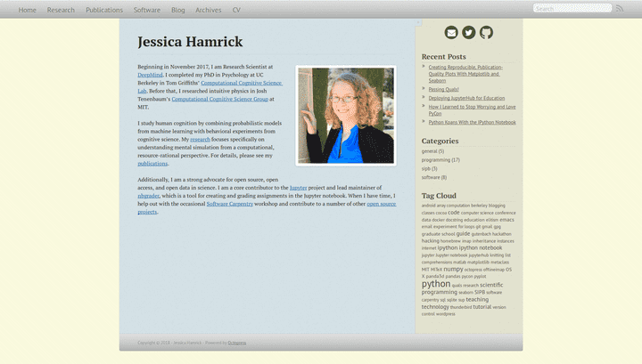 Screenshot of the blog Jessica Hamrick